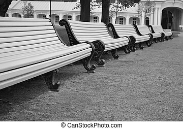 Empty benches in the park.