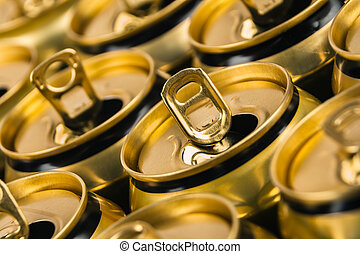 Already open and empty beverage aluminum cans
