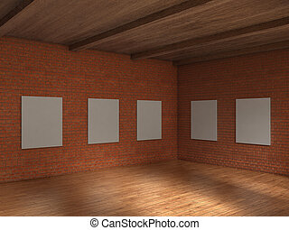 Empty big gallery with brick wall and wood ceiling. 3d illustration