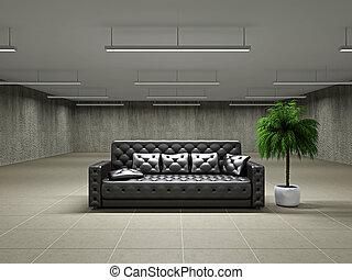 Empty big hall with sofa