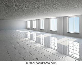 Empty big hall with window