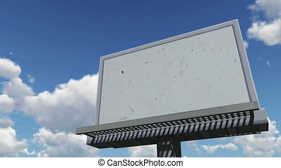 Empty billboard against cloudy sky - Look up at the blank...
