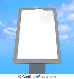 Empty billboard at sky background - Empty advertising...