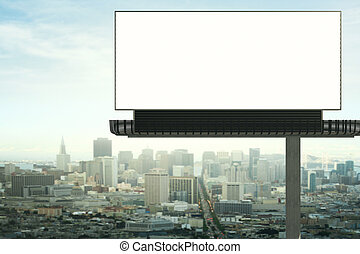 Empty billboard front - Front view of empty billboard on...