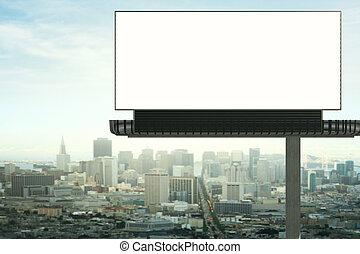 Empty billboard front - Front view of empty billboard on...
