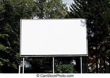Empty billboard on background wood