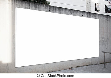 Empty billboard on the concrete gray background. White...