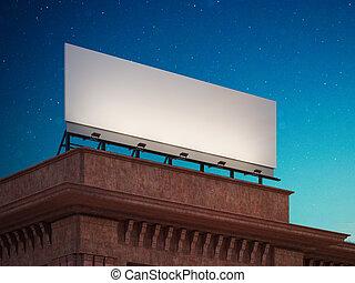 Empty billboard on the roof of building. 3d rendering