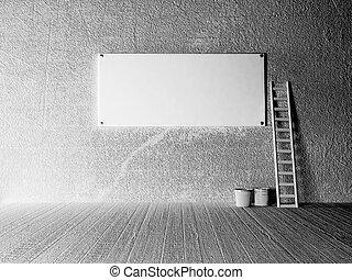 empty billboard on the wall