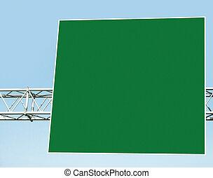 Empty billboard - Empty green billboard on blue sky...