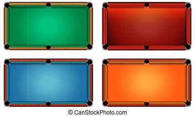 Empty Billiard Tables on White Background Set for Mobile Game Assets
