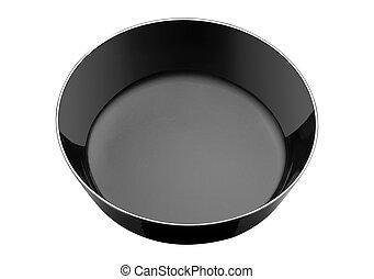 Empty black bowl isolated on white background