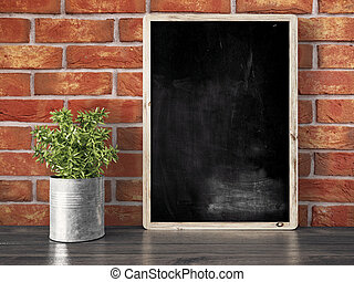 Empty black chalkboard, 3D render