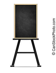 Empty black chalkboard on white background, Blank chalkboard with wooden frame isolated on white background with clipping path.
