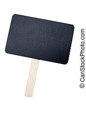 Empty black chalkboard with handle.