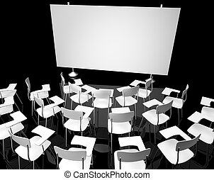 classroom - Empty black classroom with white school chairs