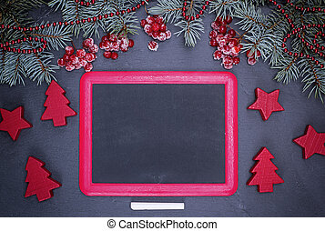 empty black frame and a piece of chalk