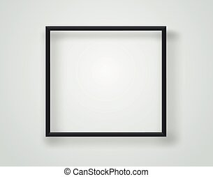 Empty black frame on a white wall. Vector template