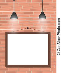 Empty black frames on red brick wall with spotlights