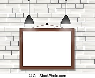 Empty black frames on white brick wall with spotlights