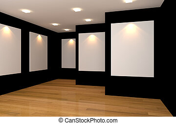 empty black gallery room