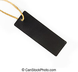 Empty Black paper tag on white background
