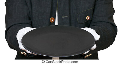 empty black plate in hands in white gloves