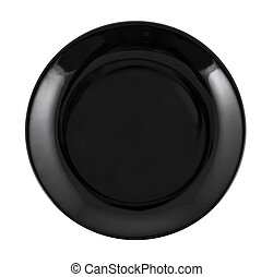 Empty black plate isolated on white.