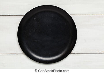 Empty black plate top view