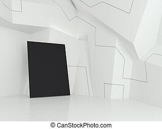 Empty black poster in gallery. 3d rendering