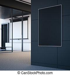 Empty black poster on the office wall. 3d rendering