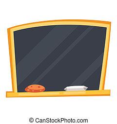 Empty black school board with sponge and chalk.