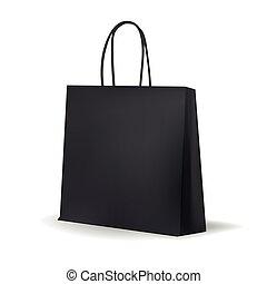 Empty Black Shopping Bag  for advertising and branding. MockUp Package. Vector Illustration.