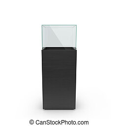 empty black showcase. 3d illustration isolated on white background