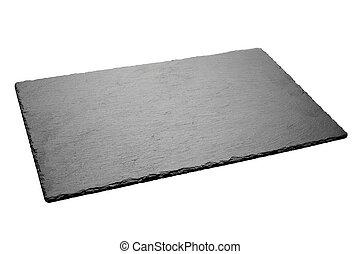 Empty black slate plate isolated on white background.