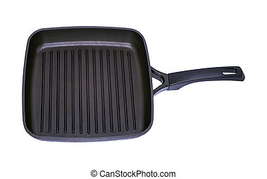 empty black square grill pan with handle