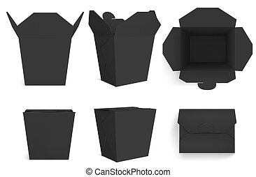 Empty black Wok box, paper packaging for chinese food, noodle or rice with chicken. Vector realistic mockup of closed and open takeaway boxes in front and top view isolated on white background