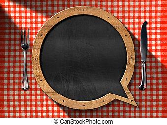 Empty Blackboard for a Restaurant Menu - Empty blackboard in...