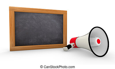 Empty blackboard with free writing space megaphone