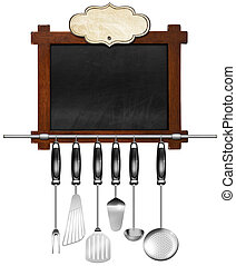Empty Blackboard with Kitchen Utensils - Rustic and empty...