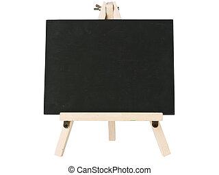 empty blackboard with tripod wooden