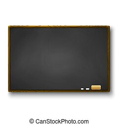Empty blackboard with wooden frame and piece of chalk and eraser. Template of chalkboard for banner. Vector illustration