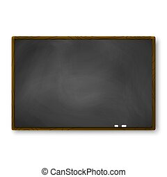 Empty blackboard with wooden frame and piece of chalk. Template of chalkboard for banner. Vector illustration