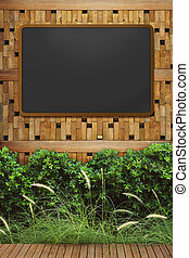 empty blackboard with wooden frame on wood wall