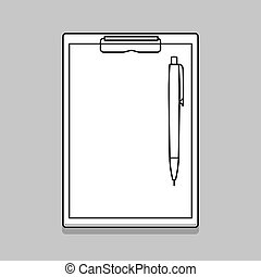 Empty blank clipboard with pen
