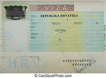 Empty blank croatian visa