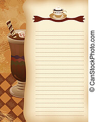 Empty blank of menu. Coffee theme. Ready for the text of your choice.
