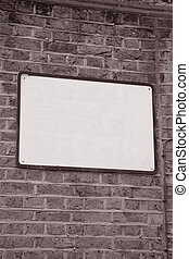 Empty Blank Sign on Brick Stone Wall