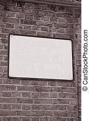 Empty Blank Sign on Brick Stone Wall