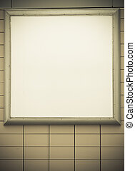Empty blank square white advertising billboard on tiled wall